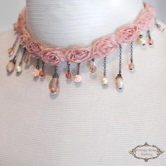 Bridal Choker - Lace Choker - Statement Necklace - Vintage Style Necklace - Wedding Tulle Choker - Ashes of Roses A Unique , Shabby chic Lace choker with tulle roses , rhinestones a lot of gorgeous crystals ,vintage pearls and coral roses. At the centre there