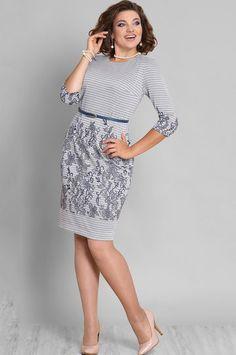 "Dress Galean Style, gray in stripes (model 595) - Belarusian knitwear in the online store ""Sewing Tradition"""