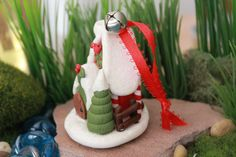 Christmas Cottage Tree Ornament Polymer Clay Ornament