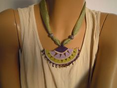 necklace turkish needle lace purple lilac green by PashaBodrum, $25.00