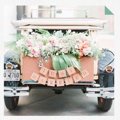 This is how to decorate a wedding car at the BHDLN blog #wedding ideas #OliverINK on Etsy