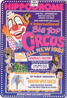 Hippodrome Great Yarmouth, Big Top Circus 1981 Show poster Big Top Circus, Mercury Cars, Great Yarmouth, Norfolk, Seaside, Carnival, Posters, Books, Animals