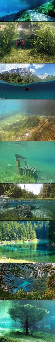 Grüner See, Austria . Park that turns into a lake when the winter snow melts !