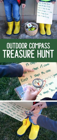 Outdoor Compass Treasure Hunt Send your kids on an adventure of learning to use a compass. Don't forget to hide the treasure filled with awesome prizes for all the kids. Treasure Hunt Map, Treasure Hunt For Kids, Treasure Hunting, Outdoor Scavenger Hunts, Scavenger Hunt For Kids, Outdoor Education, Outdoor Learning, Outdoor Play, Outdoor Ideas