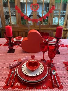 Hearts for a Valentine's Day Table — Whispers of the Heart Valentine Theme, Valentine Day Love, Happy Valentines Day, Valentines Day Tablescapes, Valentines Day Decorations, Holiday Tablescape, Holidays And Events, Favorite Holiday, Table Settings