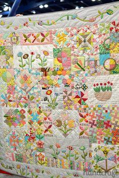 Amazing sampler quilt by Jen Kingwell Designs.  Fall 2014 Quilt Market –  photo by  ModernHandcraft