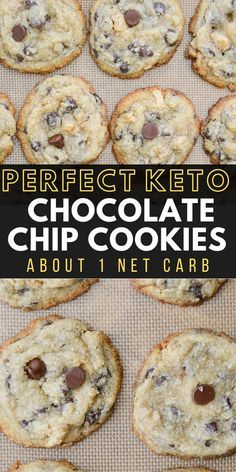 Keto Chocolate Chip Cookies (about 1 net carb!) This is the perfect Keto Chocolate Chip Cookie recipe! These low carb cookies are packed with dark chocolate chips and pecans all for only about one net carb each! Keto Cookies, Cookies Et Biscuits, Keto Biscuits, Low Carb Cookies Recipe, Low Calorie Cookies, Blondies Cookies, Diabetic Cookies, Keto Cookie Dough, Sugar Free Cookies