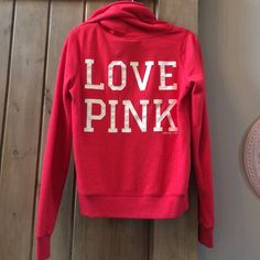 VS Pink Hoodie These hoodies are amazing and so soft! This red full-zip hoodie features VS Pink Dog logo on front and LOVE PINK on back. In almost new condition- only worn a few times. PINK Victoria's Secret Tops Sweatshirts & Hoodies