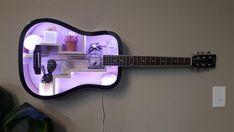 Guitar Room, Guitar Wall, Home Room Design, House Design, Guitar Shelf, Diy Home Bar, Recycled Home Decor, Wall Hanging Shelves, Cute Bedroom Decor