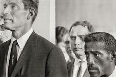 Marlon Brando flanked by Sammy Davis, Jr., and Charlton Heston at the March on Washington, 1963.