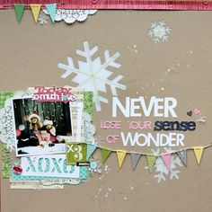 Great layout by MelB on Random Ramblings...love the stitched snowflakes! Love the whole layout! :)