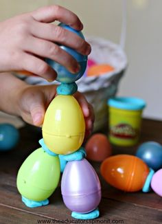 Spring STEM Activities for Kids. Build with eggs and playdough! Fun spring engineering project.