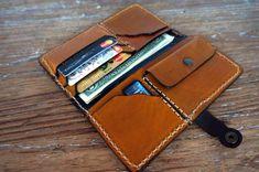 Handmade leather billfold wallet for women caramel by GalenUnique, $39.00