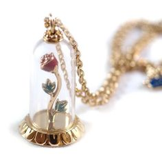Disney Couture Limited Edition Beauty and the Beast Enchanted Rose Necklace.