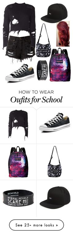 """School outfit"" by musiclover135 on Polyvore featuring Converse, JanSport, adidas Originals and OBEY Clothing"