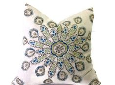 Peacock Feather Pillows, Throw Pillows,  Decorative Throw Pillows, Durelee Pillow,  Green, Ivory Pillows Printed Fabric on Both Sides
