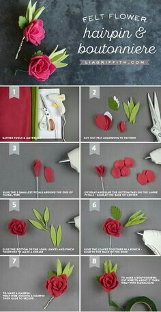 25 super ideas for flowers diy felt rose tutorial Felt Roses, Felt Flowers, Diy Flowers, Fabric Flowers, Paper Flowers, Potted Flowers, Felt Diy, Felt Crafts, Diy Crafts