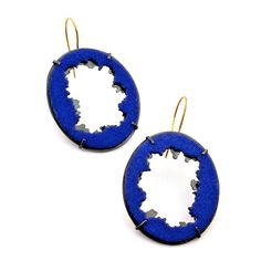 silver & enameled earring by Christine Simpson Forni with 18kt gold ear wires.