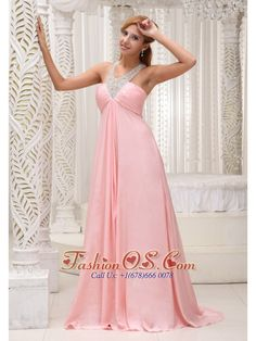 Beaded Decorate Scoop Neckline Ruched Decorate Bust Brush Train Baby Pink Chiffon 2013 Prom Dress For Military Ball  http://www.fashionos.com   It features a flattering pleated bust with heavily beaded necklace neckline, showing just enough skin to be classy without being too revealing. The floor length skirt continues from the high waistline and creates a feeling of flowy. The back with beaded crossed bands and zipper closure will have more heads turning.