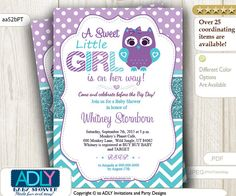 Purple Teal Turquoise Owl Invitation for by adlyowlpartyprints