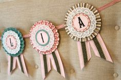customized for by TheRustyAttic Birthday Badge, Ribbon Banner, Cow Girl, For Your Party, Rosettes, Fabric Crafts, Hot Pink, Awards, Horse