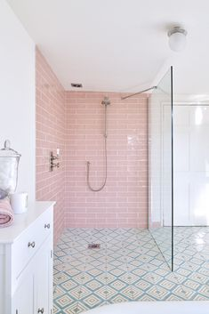 Ca' Pietra Pink Tiles in Shower Ca' Pietra Carter Rose Pink Tile. We adore this pink shower which ju Upstairs Bathrooms, Downstairs Bathroom, Bathroom Renos, Ensuite Bathrooms, Family Bathroom, Bathroom Renovations, Bathroom Faucets, Pink Bathroom Tiles, Pink Tiles