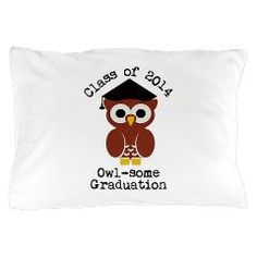 Cute Graduation Owl with mortar board Pillow Case> Cute graduation owl with mortar board> Victory Ink Tshirts and Gifts