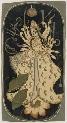 Painting 1725 Bikaner district of Rajasthan, Devi brandishing cosmic weapons, she takes the form of Durga perched on a Lotus flower.