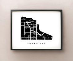 Yorkville Map  Toronto Neighbourhood Art Print by CartoCreative