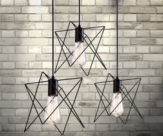 Modern Industrial Style Angled Wire Pendant Lamp / by jbFARM, $74.00