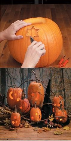 Easy way to decorate your Halloween Pumkin using your own Halloween Pumpkin Designs  cookie cutters for shapes.