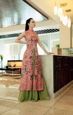 Coral Pink Jaal Embroidered Kurta with Green Lehenga and Dupatta Set Aharin https://www.perniaspopupshop.com/designers/aharin-india