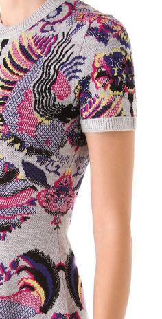 Mcq By Alexander Mcqueen Griffin Jacquard Flirty Knit Dress in Gray (grey) | #mcq