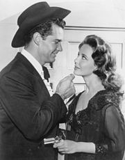 """Publicity photo of James Garner as Bret Maverick and Suzanne Storrs from the television program Maverick. This episode is """"Guatamala City"""". Old Tv Shows, Best Tv Shows, Favorite Tv Shows, Tv Actors, Actors & Actresses, Maverick Tv, Thing 1, Television Program, Vintage Tv"""