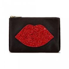 Lulu Guinness Purse - Lip Zip Pouch, Red Glitter - http://www.wheelersluxurygifts.com/shop/item/916/16182/lulu-guinness-purse---lip-zip-pouch--red-glitter/