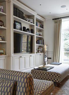 Built In Shelves Living Room, Living Room Wall Units, Living Room Interior, Home Living Room, Living Room Designs, Living Room Decor, Home Office Design, House Design, Living Room Entertainment Center