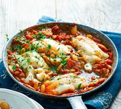 Fancy a fish supper ready in under half an hour? Mix up your midweek meal with our satisfyingly spicy chorizo and cod stew Fancy a fish supper ready in under half an hour? Mix up your midweek meal with our satisfyingly spicy chorizo and cod stew Bbc Good Food Recipes, Cooking Recipes, Healthy Recipes, Easy Fish Recipes, Cooking Fish, Cooking Videos, Healthy Meals, Vegetarian Recipes, Healthy Food