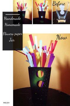 Homemade jar Flowers paper :)