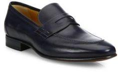 d2431673074 A. Testoni Penny Slip-On Leather Loafers Navy Blue Dress Shoes