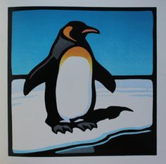 Original Linocut Style Children's Animal Print, Book Illustration, Penguin Standing on Ice with Blue Sky. Kind of sad they had to destroy the book to get the art...