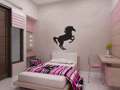 New Horse Wall Decal Black Wall Stickers Large 61cm X 58cm