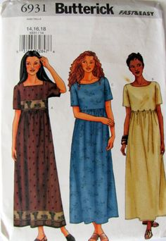 Loose Fitting Pullover A Line Long  Dress , Plus Sizes 14, 16 and 18, Misses Dress Pattern, Butterick 6931 by OnceUponAnHeirloom on Etsy