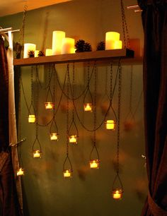Wood & chain tealight candle holder chandelier