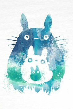 This is a fan art I made for Studio Ghibli's animation My Neighbor Totoro. This print features characters Totoro and the Mini Totoro. This open edition print will be professionally printed on archival Art Manga, Art Anime, Anime Kunst, Manga Anime, Art Studio Ghibli, Hayao Miyazaki, Anime Kawaii, Chibi, Watercolor Splatter
