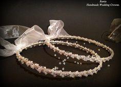 Buy Handmade Swarovski Stefana / Greek Orthodox Wedding crowns.Silver Plated Wedding headband Στεφανα.Stephana.SILVER BRAID by raniacreations. Explore more products on http://raniacreations.etsy.com