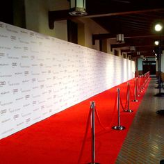 8x112 Step and Repeat Backdrop | Media Wall by Red Carpet Systems. For more information about step and repeat banners, go to http://www.redcarpetsystems.com/products-services/step-and-repeat-red-carpet-backdrop/