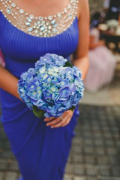 Blue Hydrangea Bouquet Bridesmaid Flowers DIY Seaside Inspired Farm Wedding http://benjaminstuart.co.uk/