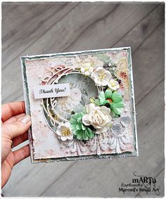 Handmade Thank You Card, Thank you, 3D greeting card, pink & green flower, for…