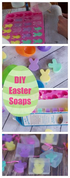 Easy Soap making idea for Easter.  Bunny soaps perfect Easter basket filler or Easter craft How to make bar soap with cute bunny rabbits inside. DIY
