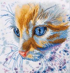 Cross stitch kit - watercolor style Ginger Cat, Oven brand cross stitch kit